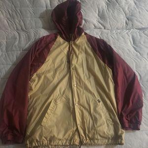 Obey Windbreaker Hooded Jacket Burgundy Sz XL Men